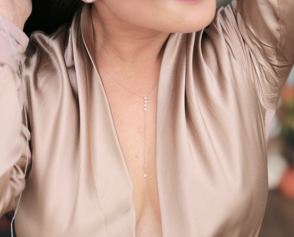 14k rose gold jewelry lariat necklace with 5 diamonds
