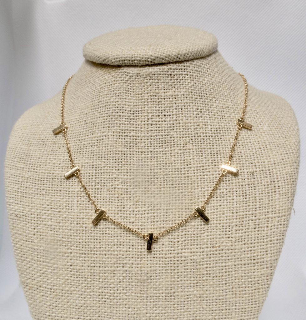 14k Bars of gold necklace jewelry