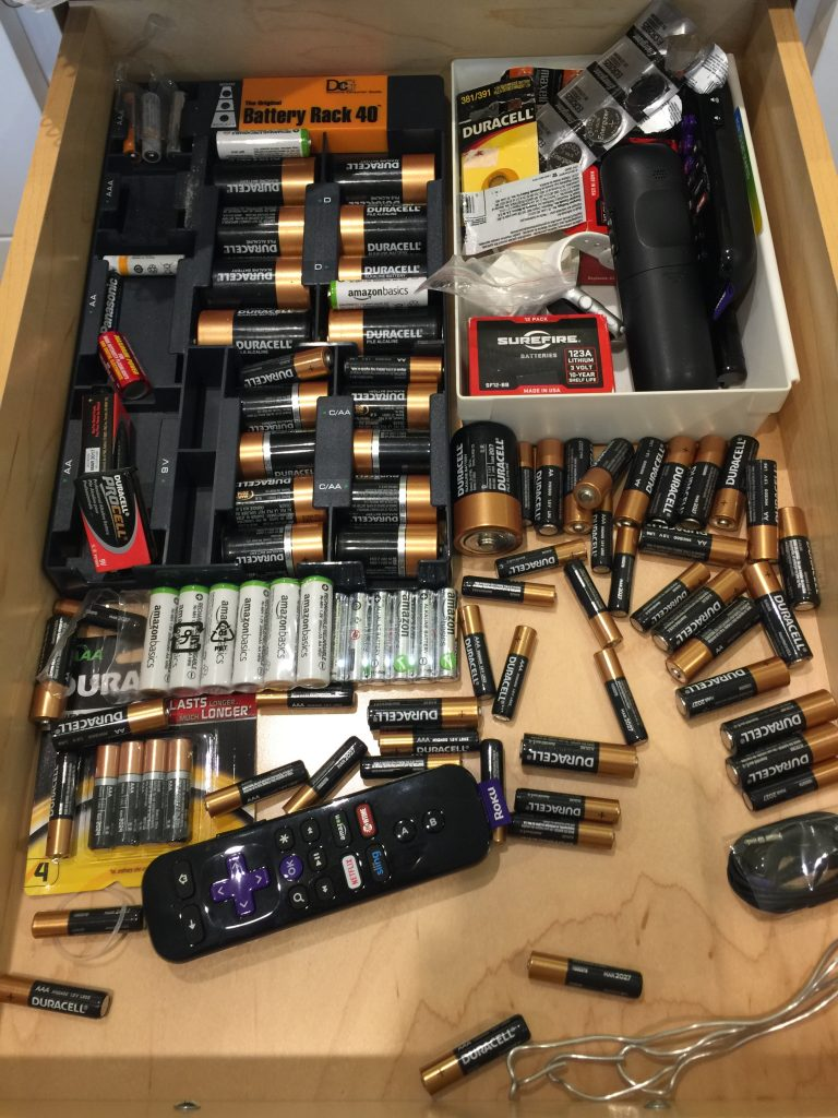 drawer with batteries